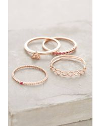 Anthropologie | Pink Janina Stacked Rings | Lyst