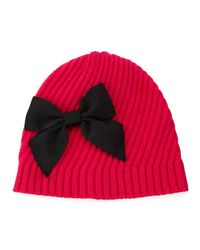 kate spade new york | Pink Diagonal Rib Beanie With Bow | Lyst