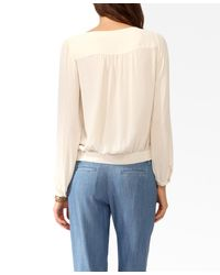 Forever 21 - Natural Shirred Blouson Top - Lyst