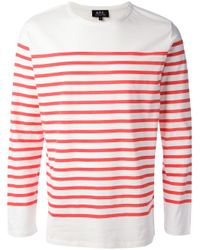 A.P.C. Red Striped Longsleeved Tshirt for men