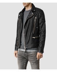 AllSaints | Black Conroy Leather Biker Jacket for Men | Lyst
