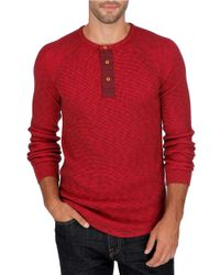 Lucky Brand Red Thermal Henely Shirt for men