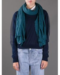 Faliero Sarti Blue Textured Weave Scarf