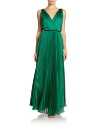 Halston | Green Pleated Surplice Gown | Lyst