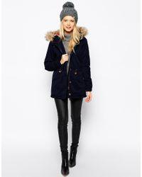 Esprit - Blue Faux Fur Hood Parka - Lyst