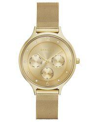 Skagen - Metallic Women's Anita Gold-tone Stainless Steel Mesh Bracelet Watch 36mm Skw2313 - Lyst