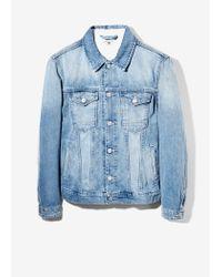 Mango Blue Light Wash Denim Jacket for men