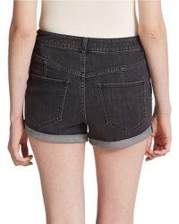 Free People | Blue Hi Rise Slim Cuffed Shorts | Lyst