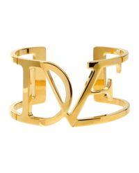 Diane von Furstenberg | Metallic Dvf Wide Cuff Bracelet | Lyst