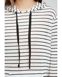 Forever 21 - Black Striped Hooded Top - Lyst