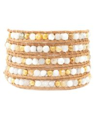 Chan Luu - Natural White Magnesite Mix Wrap Bracelet On Beige Leather - Lyst