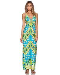 Trina Turk | Blue Woodblock Floral Maxi Dress | Lyst