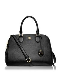 Tory Burch | Black Robinson Pebbled-Leather Satchel | Lyst