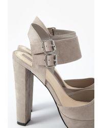Forever 21 | Gray Platform Block Heel Sandals | Lyst