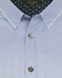 Ted Baker - Blue Micro Checked Shirt for Men - Lyst