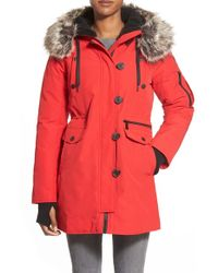 BCBGeneration | Red 'expedition' Faux Fur & Faux Shearling Trim Parka | Lyst