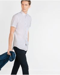 Zara | White Geometric Print Shirt for Men | Lyst