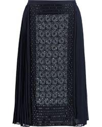 Tory Burch Blue Ivy Embellished Silk-chiffon Skirt