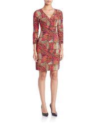Calvin Klein Red Patterned Sheath Dress