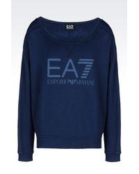 EA7 - Blue Crewneck Sweatshirt - Lyst