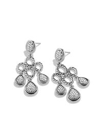 David Yurman | Metallic Sculpted Cable Chandelier Earrings With Diamonds | Lyst