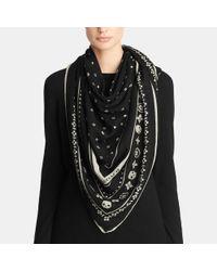 COACH | Black Skulls Wool Foulard Oversize Square | Lyst