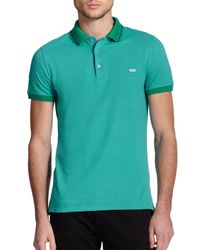 Burberry - Blue Atkins Contrast-trimmed Cotton Polo for Men - Lyst