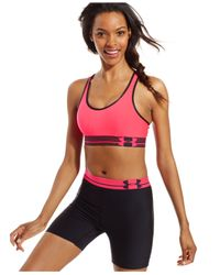 Under Armour | Pink Heatgear® Sports Bra | Lyst