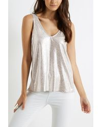 Oasis Metallic Textured Silver Shell Top