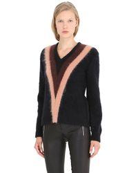 COACH Purple Color Block Mohair Blend V Neck Sweater