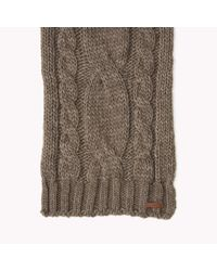 Tommy Hilfiger Gray Wool Blend Cable Knit Scarf