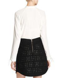 COACH White X Blitz Tie Collar Ruffle Silk Blouse