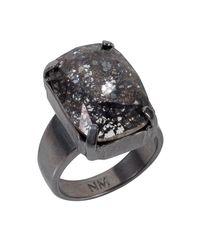 Nadia Minkoff | Metallic Black Patina Oblong Stone Ring | Lyst