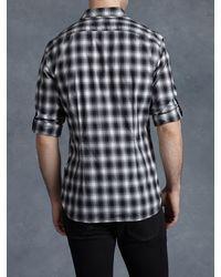 John Varvatos - Black Check Roll-tab Woven Shirt for Men - Lyst