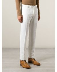 Incotex White Front Pleat Trousers for men