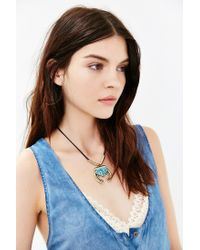Urban Outfitters | Black Zia Stone Pendant Necklace | Lyst