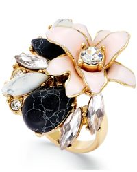 kate spade new york | Multicolor 12K Gold-Plated Glossy Petals Ring | Lyst