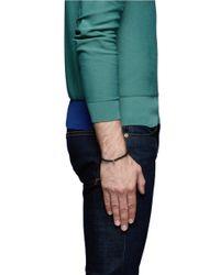Luis Morais Brown Skull Charm Charcoal Bead Bracelet for men