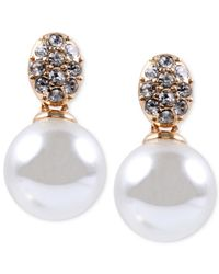 Anne Klein | Metallic Gold-tone Crystal And Glass Pearl Earrings | Lyst
