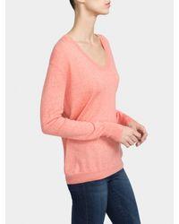 White + Warren - Pink Essential Cotton Soft V Neck - Lyst
