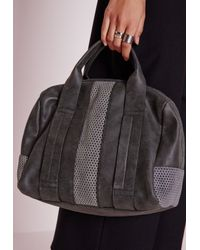 Missguided | Gray Mesh Insert Bowler Bag Grey | Lyst