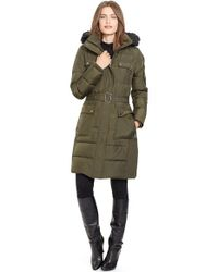 Lauren by Ralph Lauren | Green Faux Fur Trim Belted Down & Feather Fill Coat | Lyst