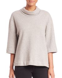 James Perse - Gray Oversized Funnelneck Top - Lyst