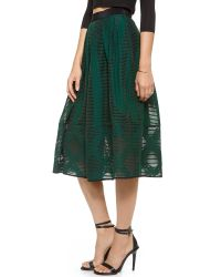 Tibi Green Arboretum Jacquard Full Skirt Emerald
