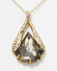 Alexis Bittar Metallic Miss Havisham Encrusted Pyrite Shield Pendant Necklace, 16""