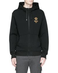 Dolce & Gabbana Black Crown And Bee Embroidery Zip Hoodie for men