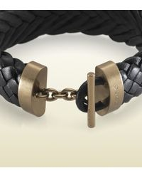 Gucci Black Woven Leather Bracelet for men