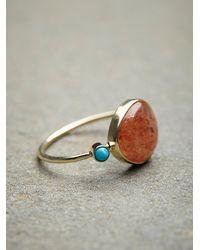 Free People | Metallic Sunstone Slice Ring | Lyst