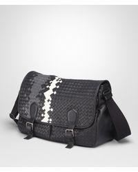 Bottega Veneta Black Nero Medium Grey Mist Intrecciato Washed Nappa Gardena Bag for men