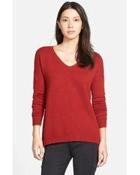 Hinge - Red Split Back Boyfriend Sweater - Lyst